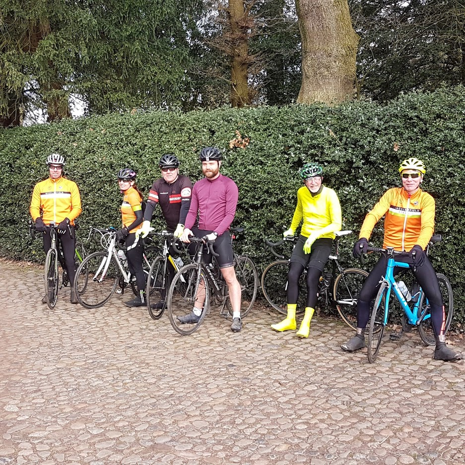 Getting some cobbles practice in for tomorrow's Barry Hyde Circuit of the Edge. L to R: Christian, Vikki, Andrew, Christian, David, Eddie.