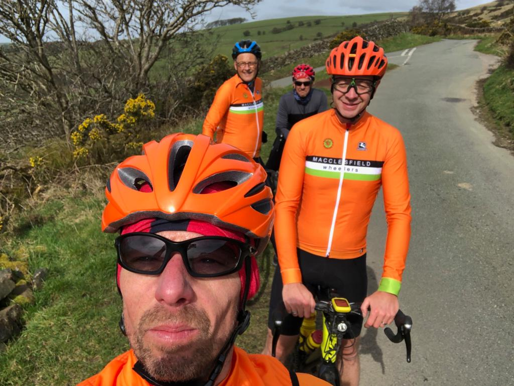 Christian (warming up for the 60-mile Cheshire Cobbled Classic tomorrow), Mark, Chris, Craig.