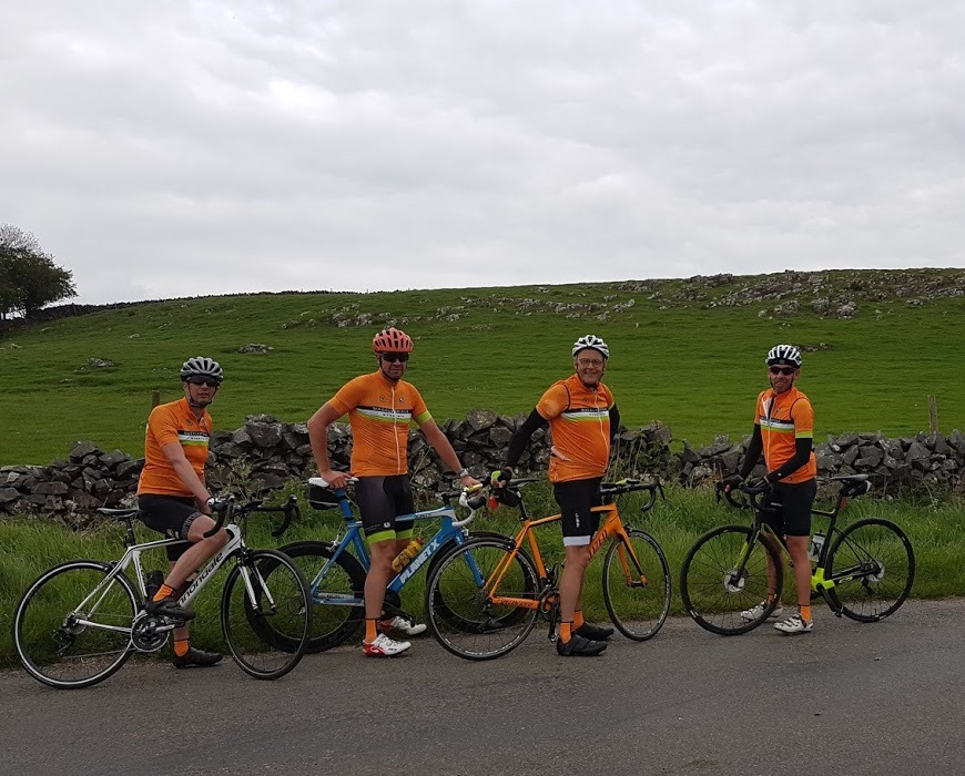 Note the hosiery of choice. Russell, Mark, some old bloke with a cushion up his jersey, Christian.