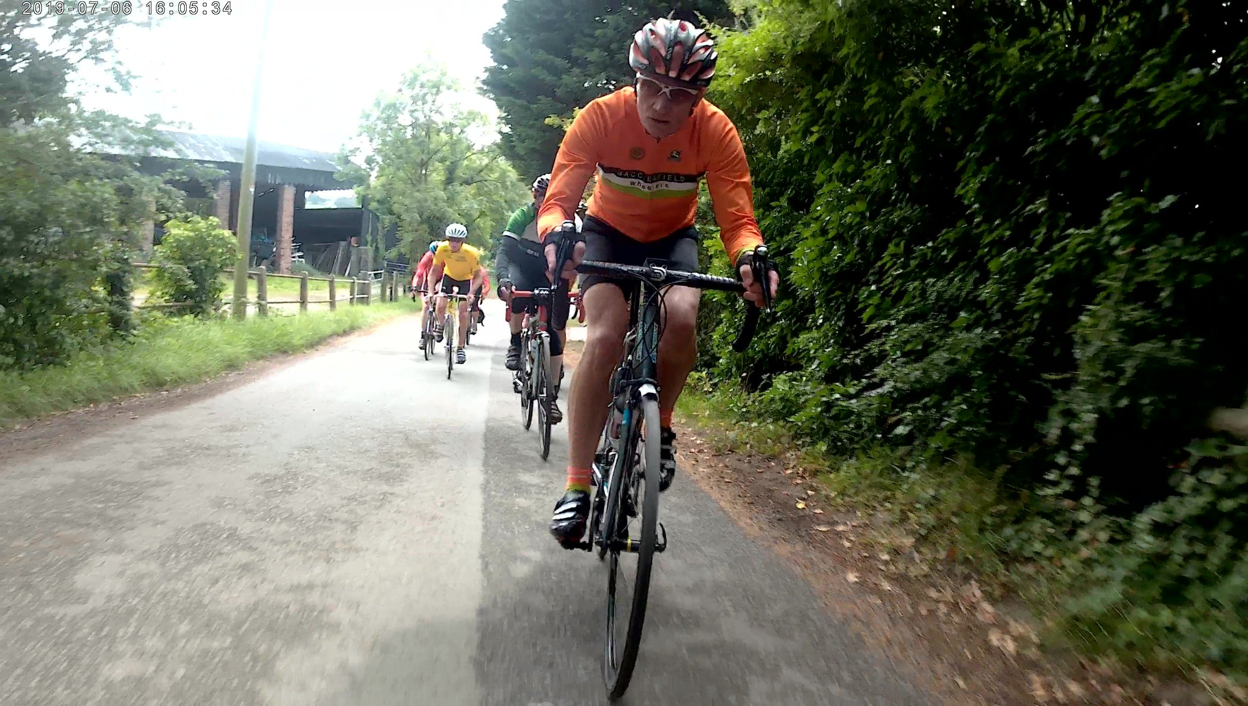 Nigel setting the pace on the climb up from the River Weaver