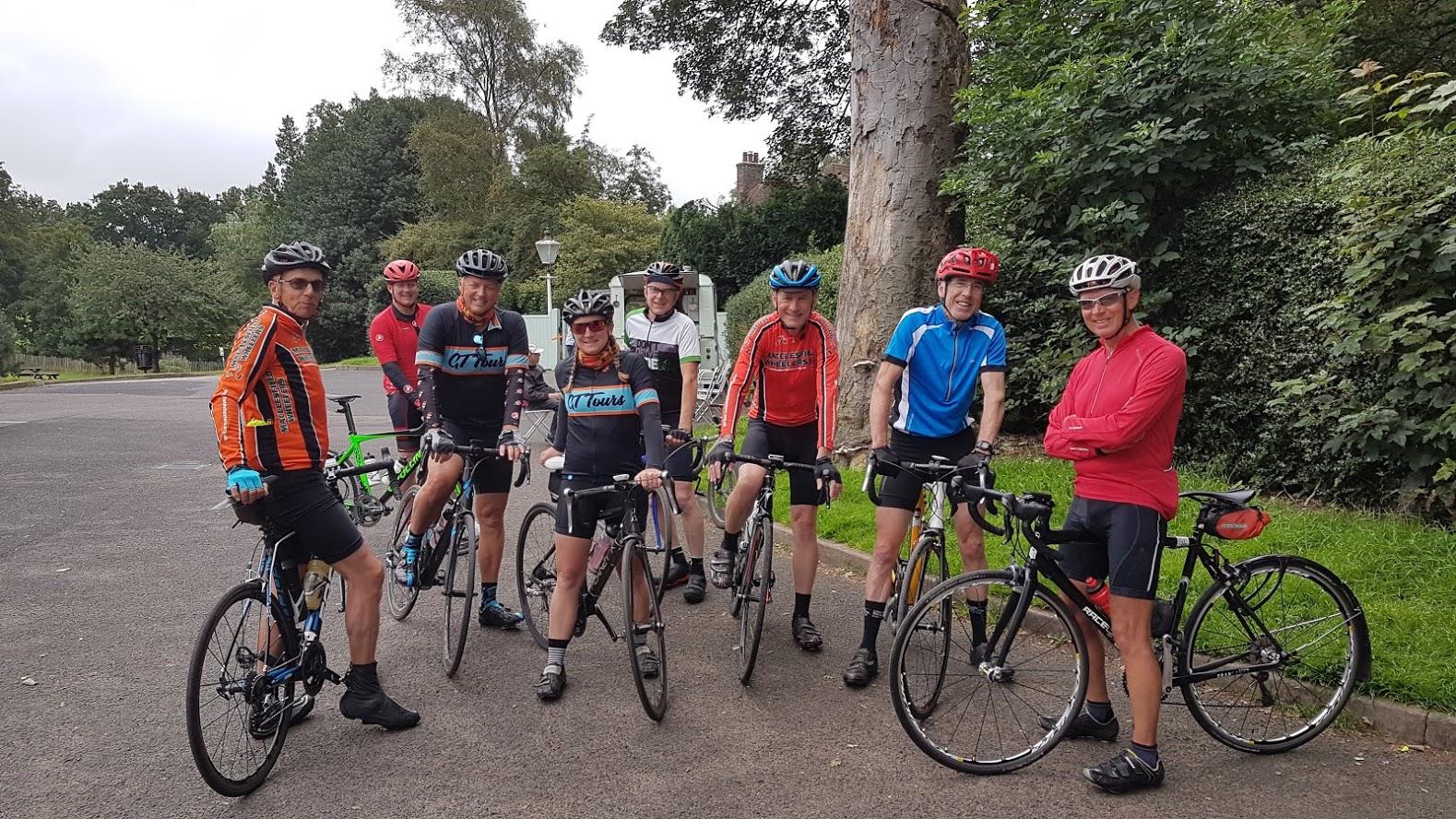 John, Oliver, Graham, Becky, Dave, Dave, Raph, Hail Ride Leader Moray. Count the Garmins.