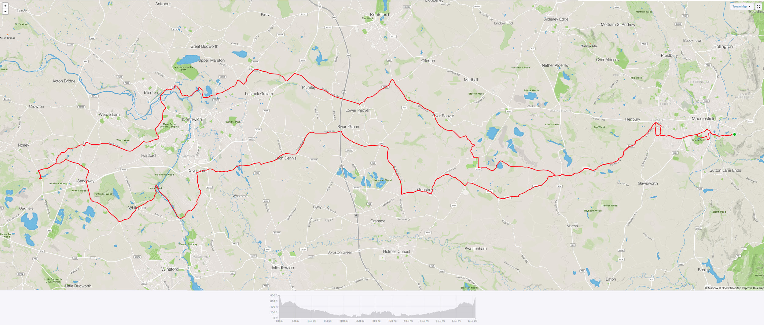 Todays route. Click to enlarge.
