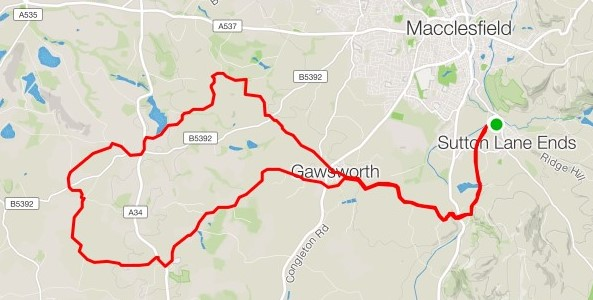 Ride route around Sutton, Gawsworth, Marton and Siddington