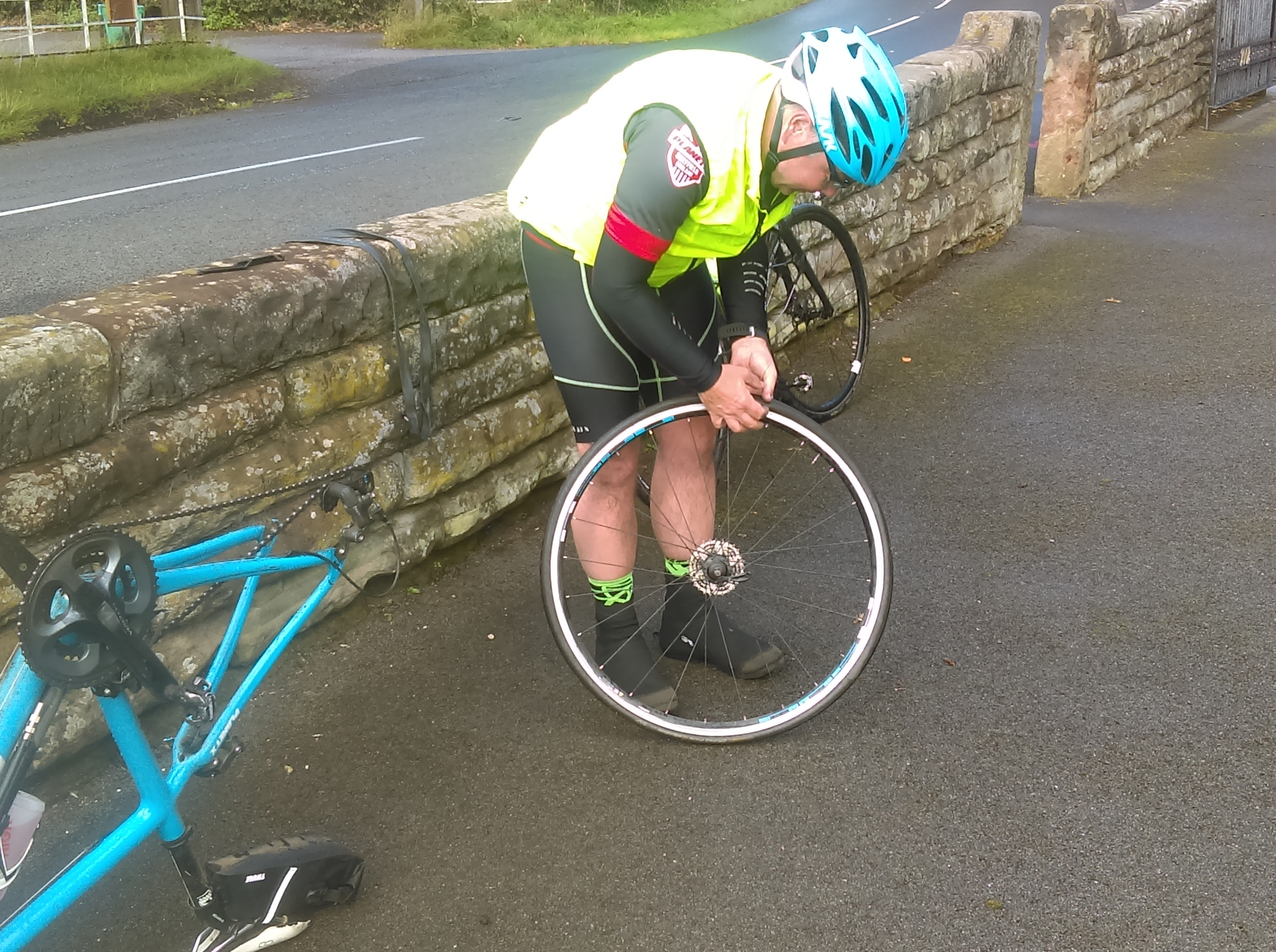 Mark tackling the puncture