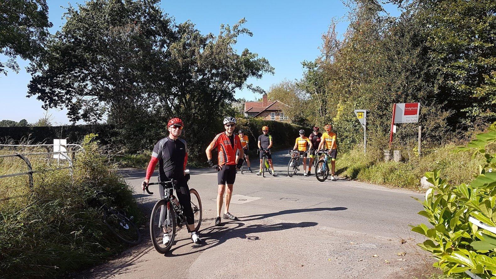 Survivors at the summit of Hocker Lane: Simon, Richard, Steve, Christian, Vikki, Andrew, Mark.