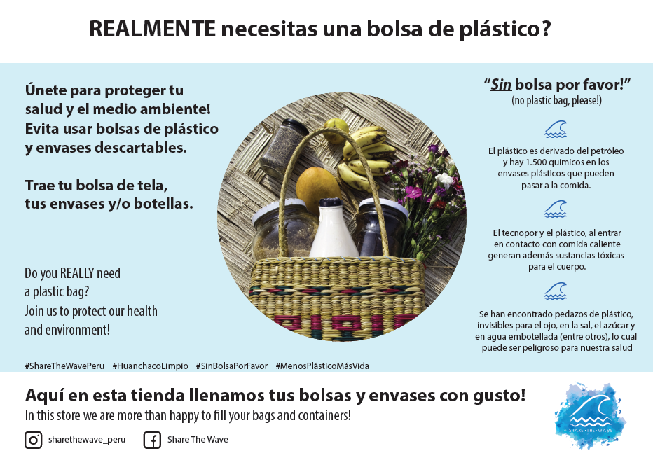 Our #HuanchacoLimpio (clean Huanchaco) campaign in the local market.