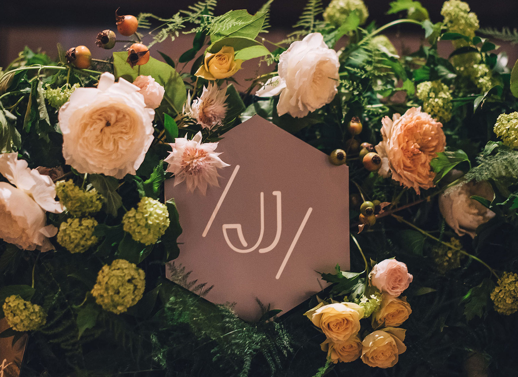 destination-wedding-decor-monogram-flower