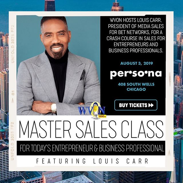 THIS Saturday, @iamlouiscarr will be hosting his first Master Sales Class, a crash course in sales, thanks to @wvon1690.  For tickets, click the 🔗 in @iamlouiscarr's bio. Hurry, tickets are going fast and there is limited seating.  #masterclass #sales #chicagoevents #professionaldevelopment #chicago #louiscarr