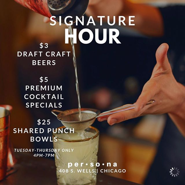 🚨 HAPPY HOUR DEALS 🚨  Join us for the best happy hour in the city! $5 Premium Cocktails? YES! Hennessy, Grey Goose, Don Julio, Maker's Mark, Patron, Dusse, Long Islands, margaritas, etc? ALL PREMIUM!!! $3 Draft Beers? Foreign, craft, and domestic!  ONLY Tuesday thru Thursday from 4 p.m. till 7 p.m.  #happyhour #happyhourchicago #afterworkdrinks #chicagoevents #chicago