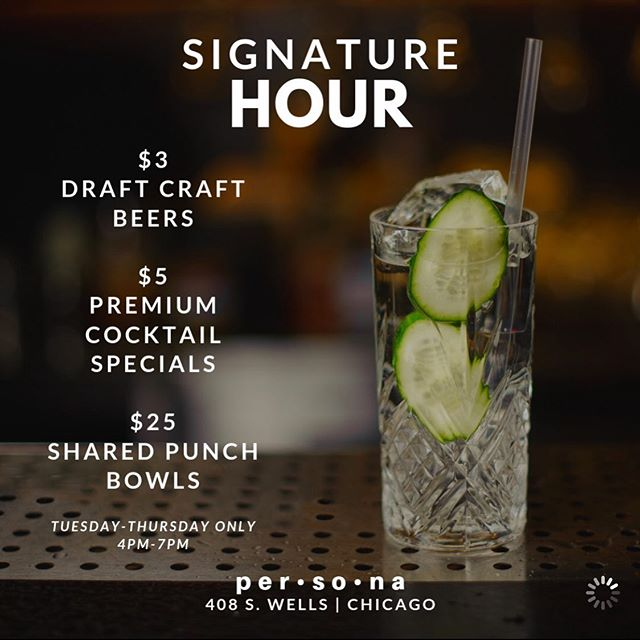 🚨 $5 HAPPY HOUR DEALS 🚨  Join us for the best happy hour in the city! . $5 Premium Cocktails? YES! Hennessy, Grey Goose, Don Julio, Maker's Mark, Patron, Dusse, Long Islands, margaritas, etc? ALL PREMIUM!!! $3 Draft Beers? Foreign, craft, and domestic!  ONLY Tuesday thru Thursday from 4 p.m. till 7 p.m.  #happyhour #happyhourchicago #afterworkdrinks #chicagoevents #chicago