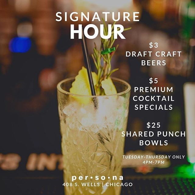 We're back at it again TOMORROW starting at 4 p.m. with your new favorite happy hour, #SignatureHour. •$5 Premium Cocktails (Hennessy, Grey Goose, Don Julio, Maker's Mark, Patron, Dusse, Long Islands, margaritas, etc.) •$3 Draft Beers (Foreign, craft, and domestic)  ONLY Tuesday thru Thursday from 4 p.m. till 7 p.m.  #happyhour #happyhourchicago #afterworkdrinks #chicagoevents #chicago