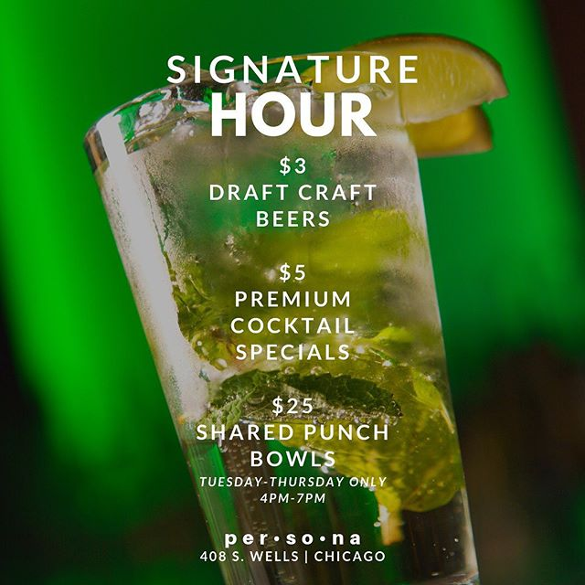 We're back at it again TODAY starting at 4 p.m. with your new favorite happy hour, #SignatureHour. . •$5 Premium Cocktails (Hennessy, Grey Goose, Don Julio, Maker's Mark, Patron, Dusse, Long Islands, margaritas, etc.) •$3 Draft Beers (Foreign, craft, and domestic)  ONLY Tuesday thru Thursday from 4 p.m. till 7 p.m.  #happyhour #happyhourchicago #afterworkdrinks #chicagoevents #chicago