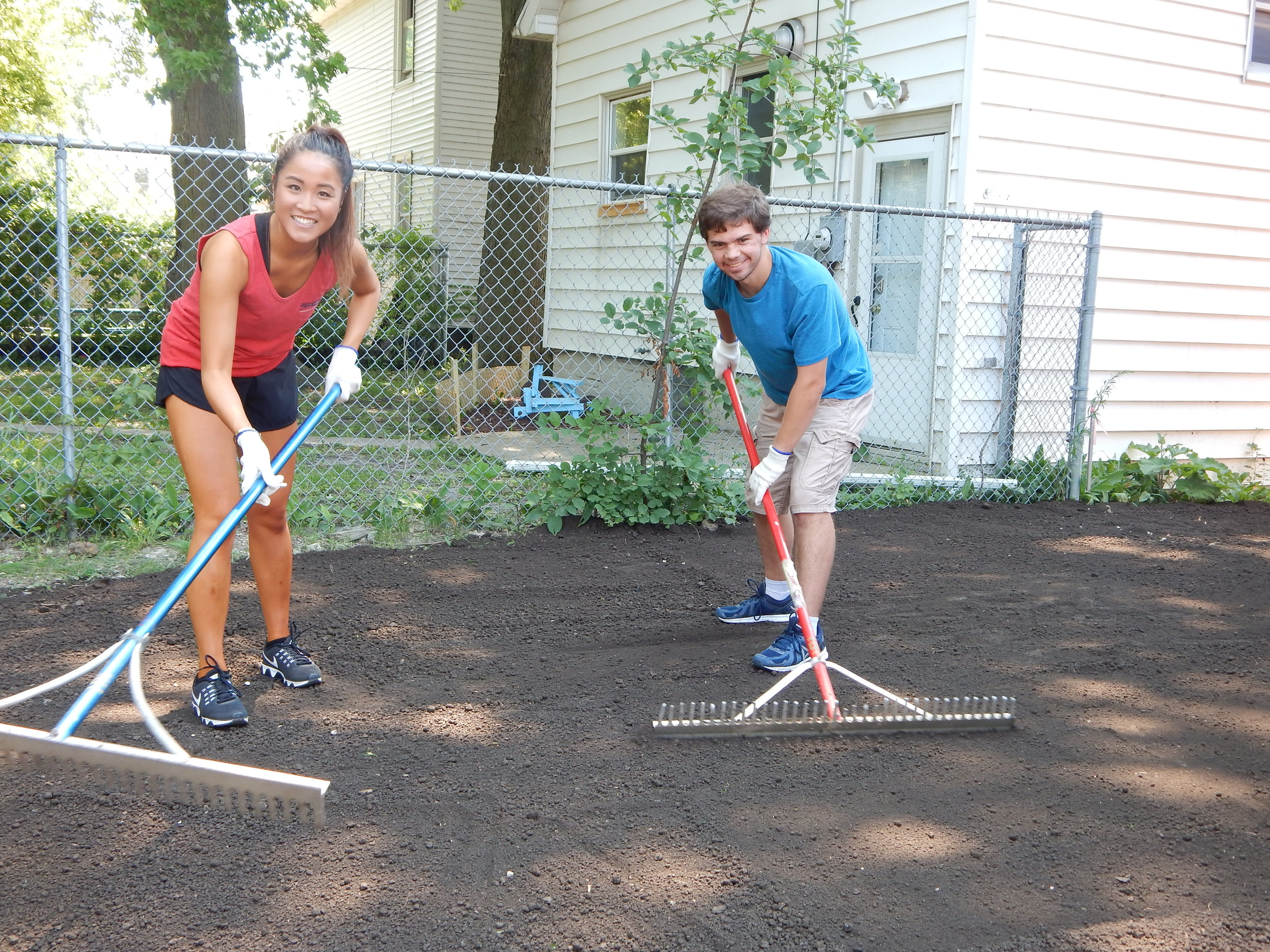 Cree Couple Raking.JPG