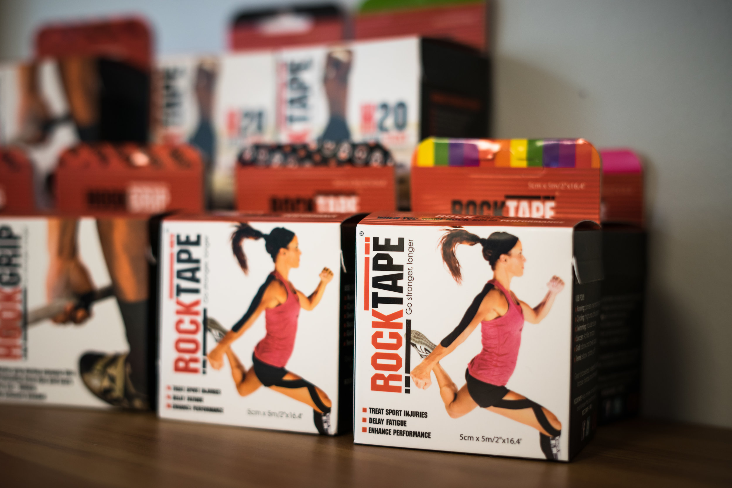 Rocktape - Flexible tape is used as an adjunct to reinforce desired movement patterns or reduce swelling and discomfort in an acute injury.