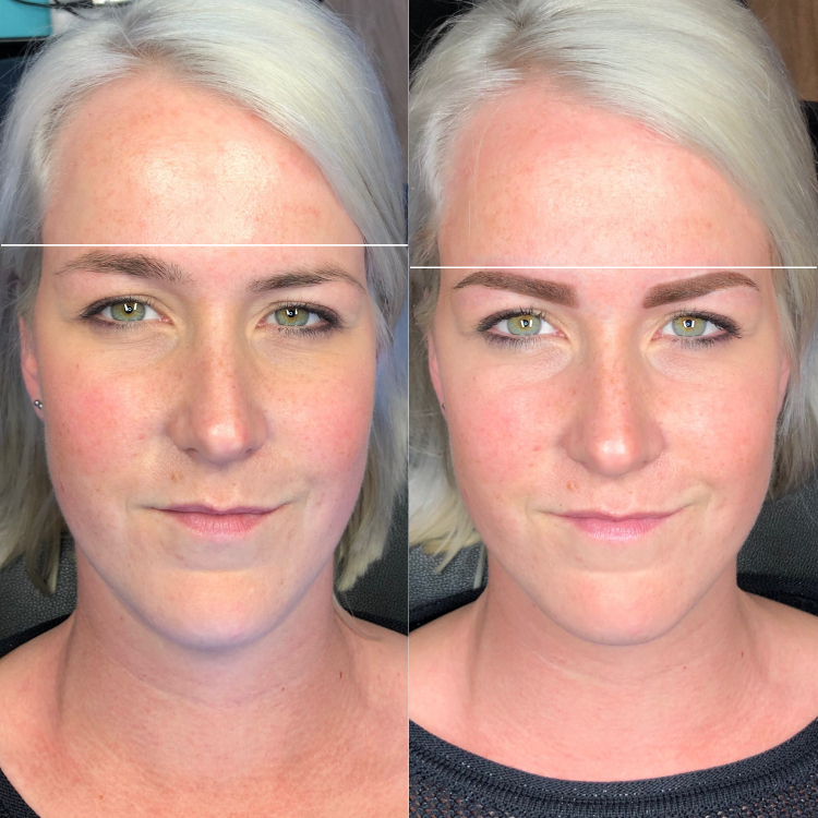 Permanente make-up l Powder Ombre brows - Correctie hoogteverschil wenkbrauwen.