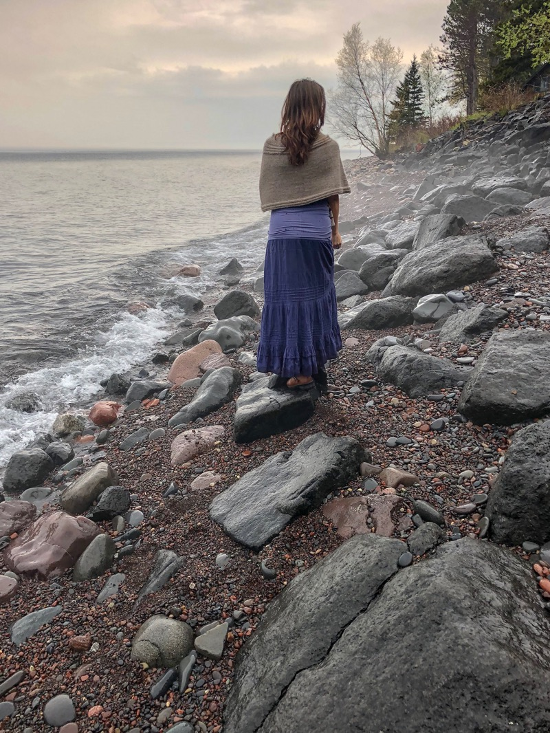 Simple Pleasures Poncho - by Lisa Ann CarilloThis poncho is knit in two pieces, a yoke and the bodice. The two pieces are then seamed together using a tapestry needle. It's an incredibly simple and totally luxurious piece for a winter day.