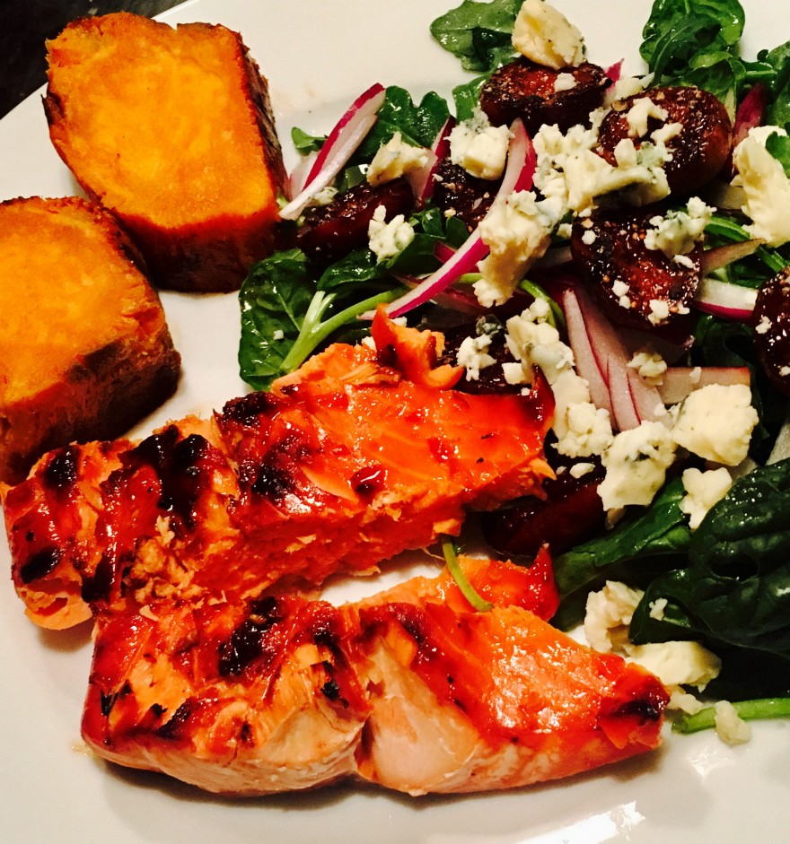 GRILLED SALMON, SLICED BAKED SWEET POTATO, MIXED GREEN SALAD (CARAMELIZED FIGS, FETA, RED ONION)