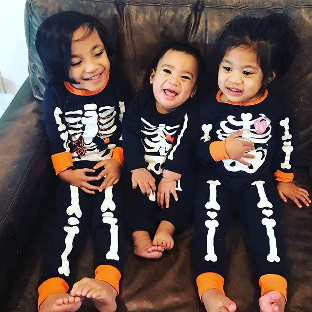 """Meet our crew. Pierce (4), Merrick (7 months), and Rosie (2). They are a dream come true and perfect for us. It's obvious we don't share the same blood but guess what, families don't have to look alike!! We're all adopted, right? We love adoption. We advocate for it. It's changed our lives. . . You'll hear the Father's heart throughout our music and it's primarily inspired by experiencing His grace, love, and redemption through adoption.  We'll share more of our story with you in the next couple of weeks. Yes, they are all bio siblings. We have had each one since birth and we adore our birth mom. . . We love sharing them with people. They'll change you. His love is so evident through them. They rock our world everyday. . . Today, they are rocking their """"coco"""" pj's and loving every minute of it. I think our hearts might explode."""