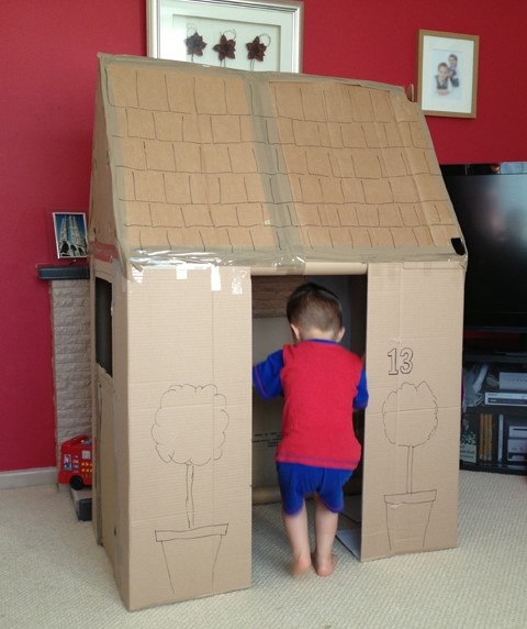 big cardboard boxes are perfect for making into vehicles, houses or caves.