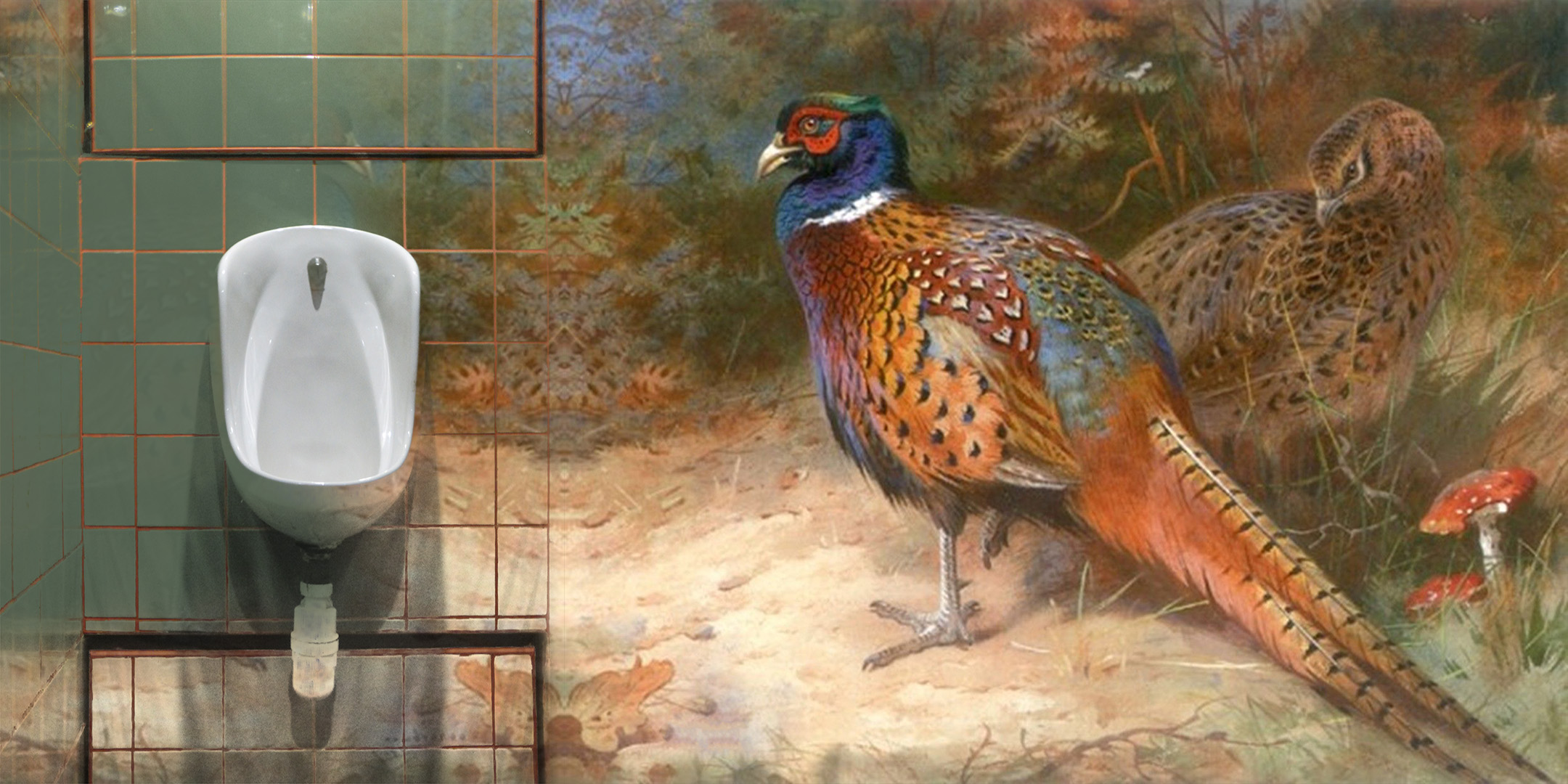 SATUR DAY NIGHT SPECIAL Projection Mapping LATRINE Restaraunt Washroom PHEASANT 1835 TAPESTRY TILED.jpg
