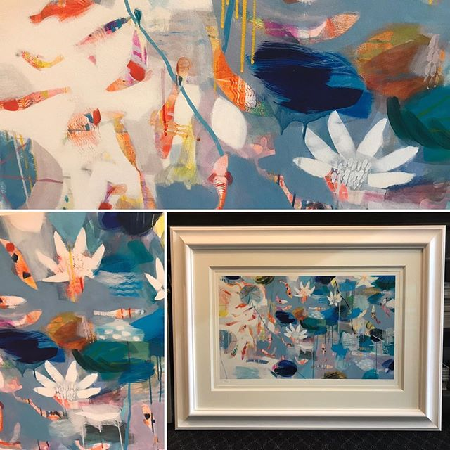 "Another beauty from Becky Blair - contemporary Limited Edition. Sold out edition. So we framed it and gave it clarity glass to reduce reflection. It's big though! 112 x 86cm/44 x 34"", so it's perfect for over the mantelpiece or a bed. #tropical #fishinart #waterlillies #drippainting #watercolor"