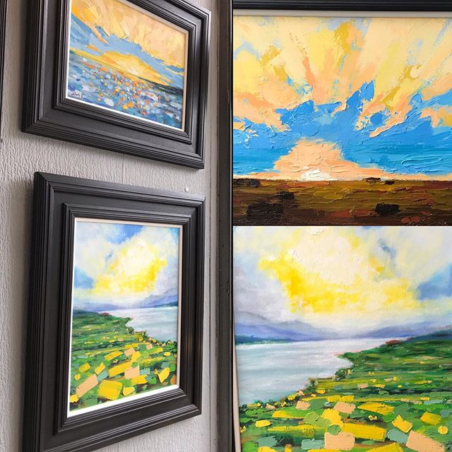 Bringing the light and a dazzling sun to the gallery today. Scott Prentice dropped by with some sunshine ☀️! Imaginings from a day out on the coast last year. #smile #sunshine #bestmood #scottishartists #glasgowart #atmosphereinart