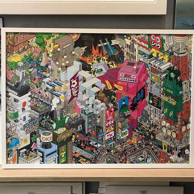 Tokyo!!! Look closer 😂 Some fun for the summer ☀️ Not for the very young children:-) Pixel Art - large format - 125cm x 85cm. Framed. We have a few cities- Tokyo, London, Paris & Rio. They look brilliant! #tokyoart #pixelart #detailing #colourpop #japanese #teenageroom