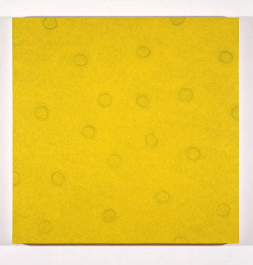 Yellow / Yellow Spiral #1,  1992-1993 acrylic on canvas 33 x 33 inches