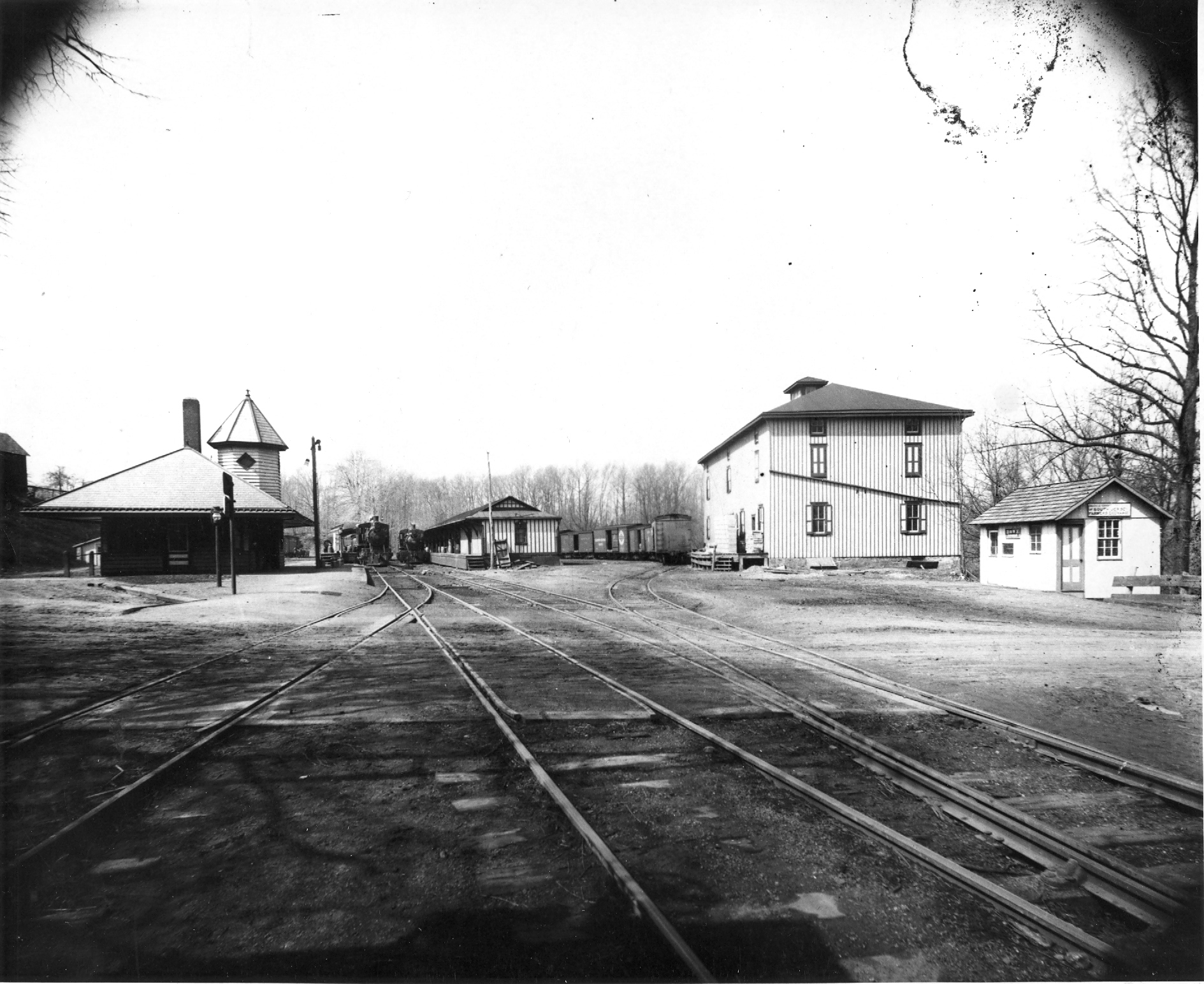 Mullica Hill Station and Warehouse, South Main Street, c1900. Reading Railroad completed the Mullica Hill branch of the Williamstown line in 1889. It provided passenger service but became a major shipping point for the region's farm produce. [HTHS: John J. McCue Collection]