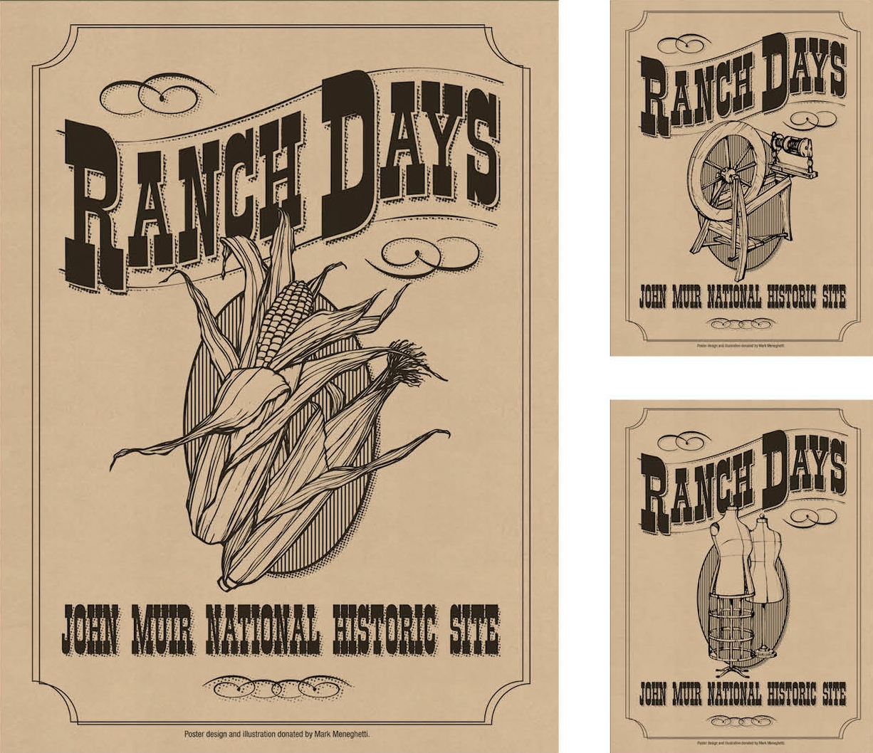 JOHN MUIR HOUSE RANCH DAYS - The John Muir House held a yearly Ranch Days celebration highlighting daily activities on the ranch. Posters digitally printed on Kraft paper.Responsible for concept, design and illustrations.