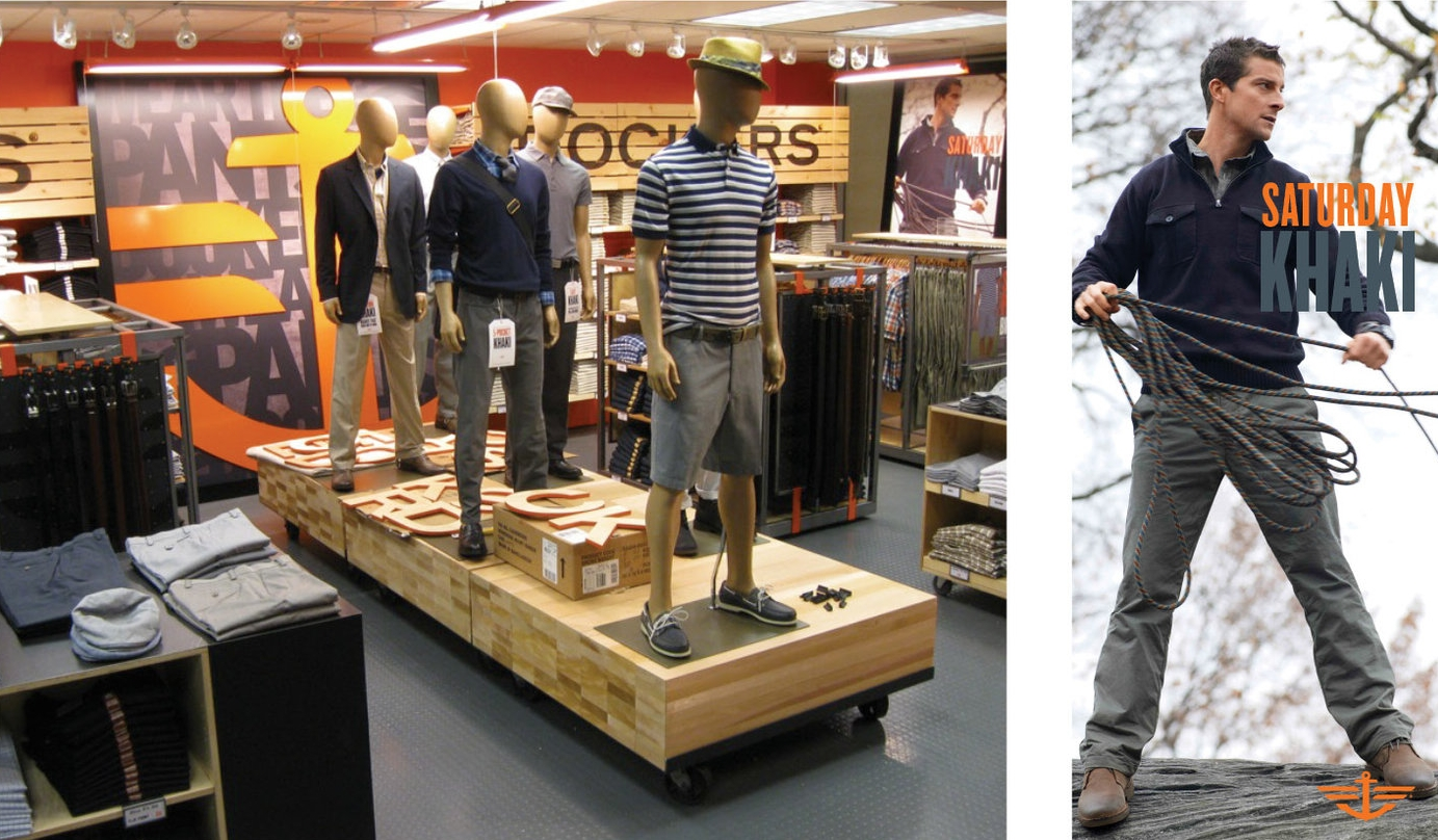 DOCKERS JCP CONCEPT SHOP - Dockers wanted to make a more impressive branding statement for their JCP Shop-in-Shop. Photograph shows initial concept set-up.Responsible for branding and graphics.