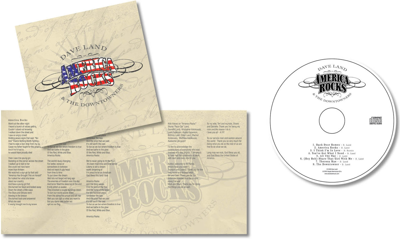 """CD PACKAGE - Design CD package with emphasis on title song """"America Rocks"""". Dave was especially proud of the lyrics.Responsible for concept, design and layout."""