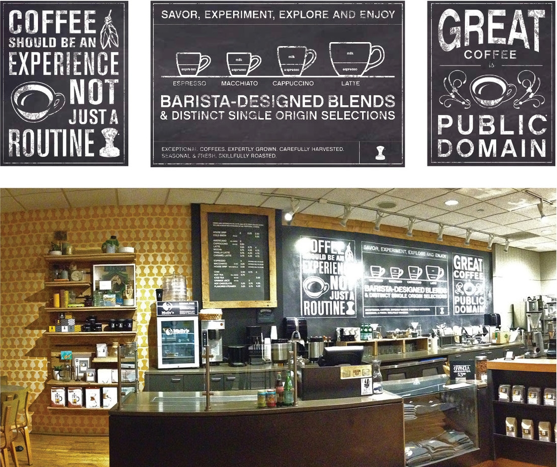 PUBLIC DOMAIN COFFEE SHOP - A coffee shop in Portland, Oregon was getting a makeover. I worked with Tajima Creative to develop faux chalkboard graphics, wall paper and pallet slatwall shelves.Responsible for concept, graphics and illustrations.