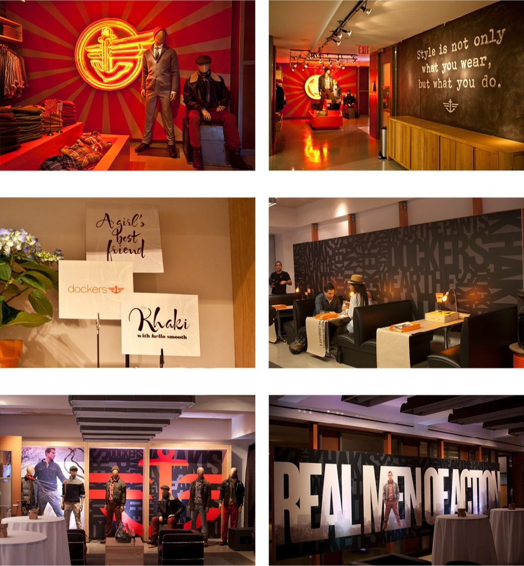 DOCKERS GO-TO-MARKET EVENTS - Bold environmental graphics based on 2012 seasonal creative.Responsible for concept and design.