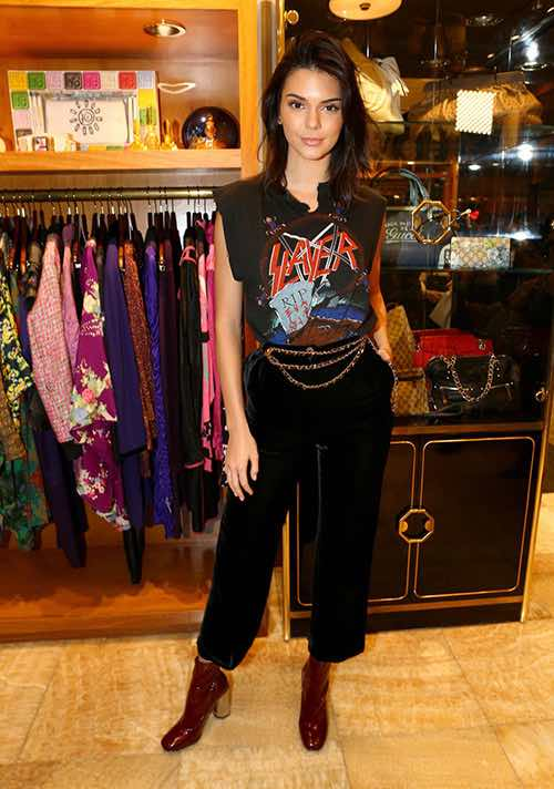 Kendall Jenner at What Goes Around Comes Around vintage boutique in soho