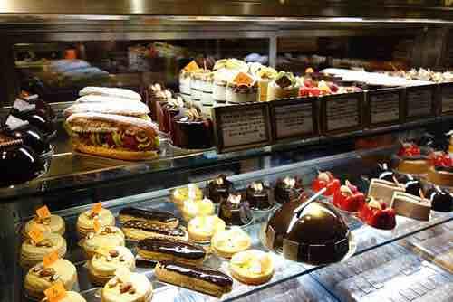 plaza food hall dessert counter display