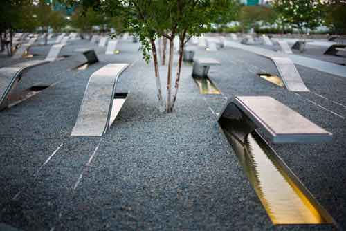 trees and seating at national september 11 memoria