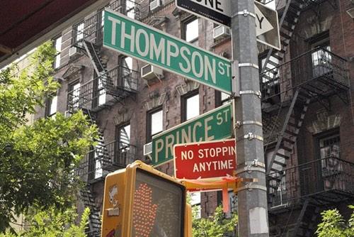 thompson and prince street signs greenwich village manhattan new york city