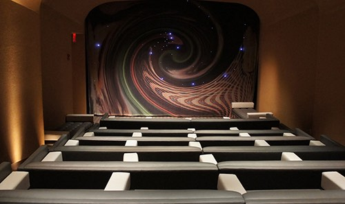 view of screening room at core club in midtown manhattan new york city, ny
