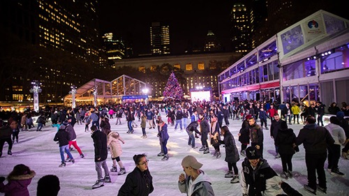 winter rink at bryant park at night midtown manhattan new york city ny