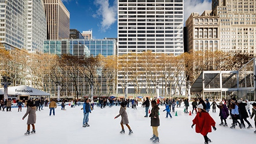 winter rink at bryant park day midtown manhattan new york city ny