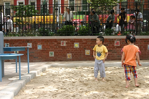hester street playground sandpit chinatown lower east side manhattan new york city ny