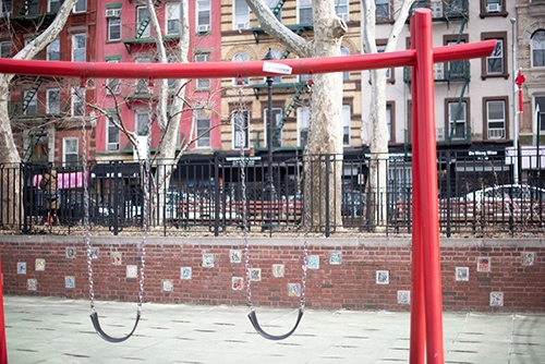 hester street playground swings chinatown lower east side manhattan new york city ny