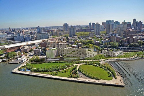 brooklyn bridge park ariel view new york city