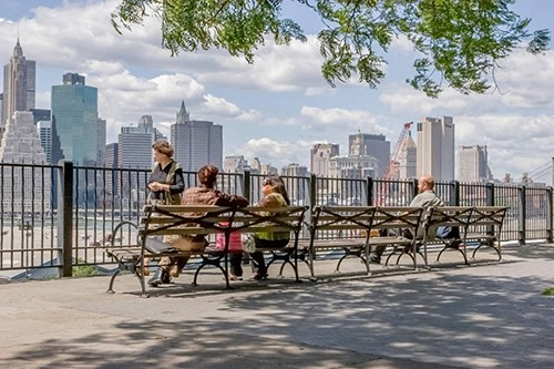 view of lower manhattan from the brooklyn heights promenade new york city ny