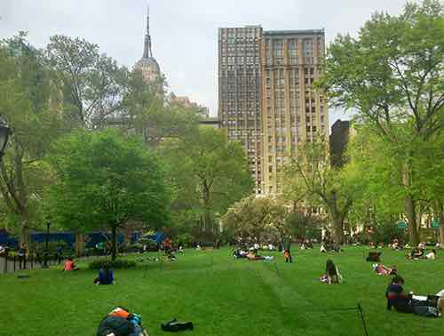 madison square park with the empire state building in background manhattan new york city ny