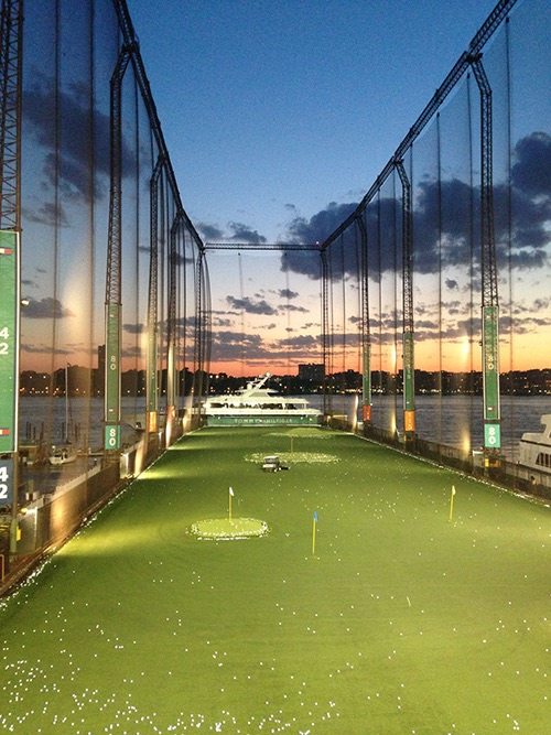 night time at golf club at chelsea piers manhattan new york city