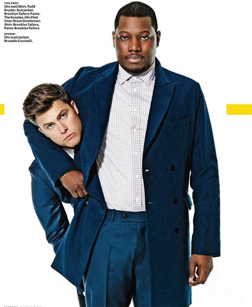 michael che and colin jost in brooklyn tailors williamsburg brooklyn new york city ny