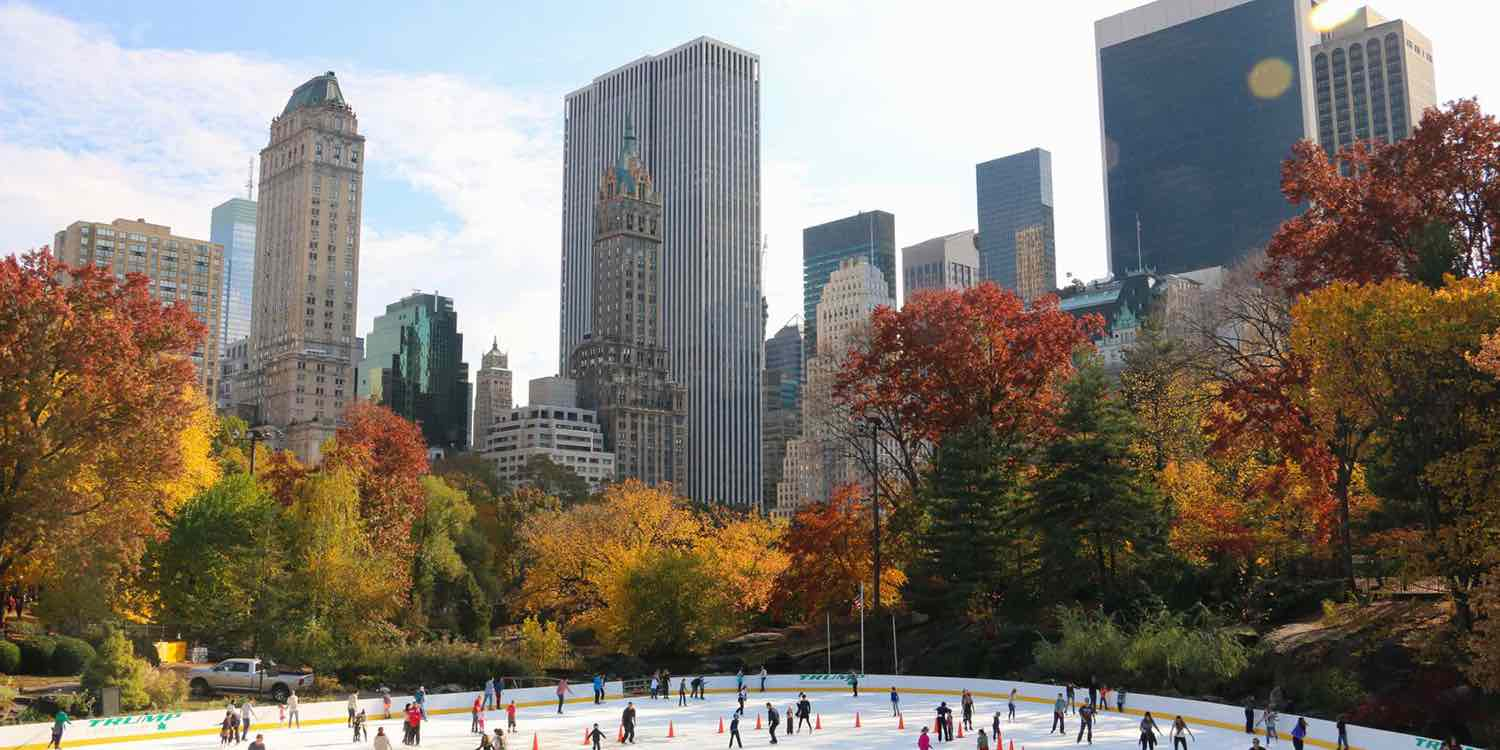 wollman rink in the fall at central park manhattan new york city ny