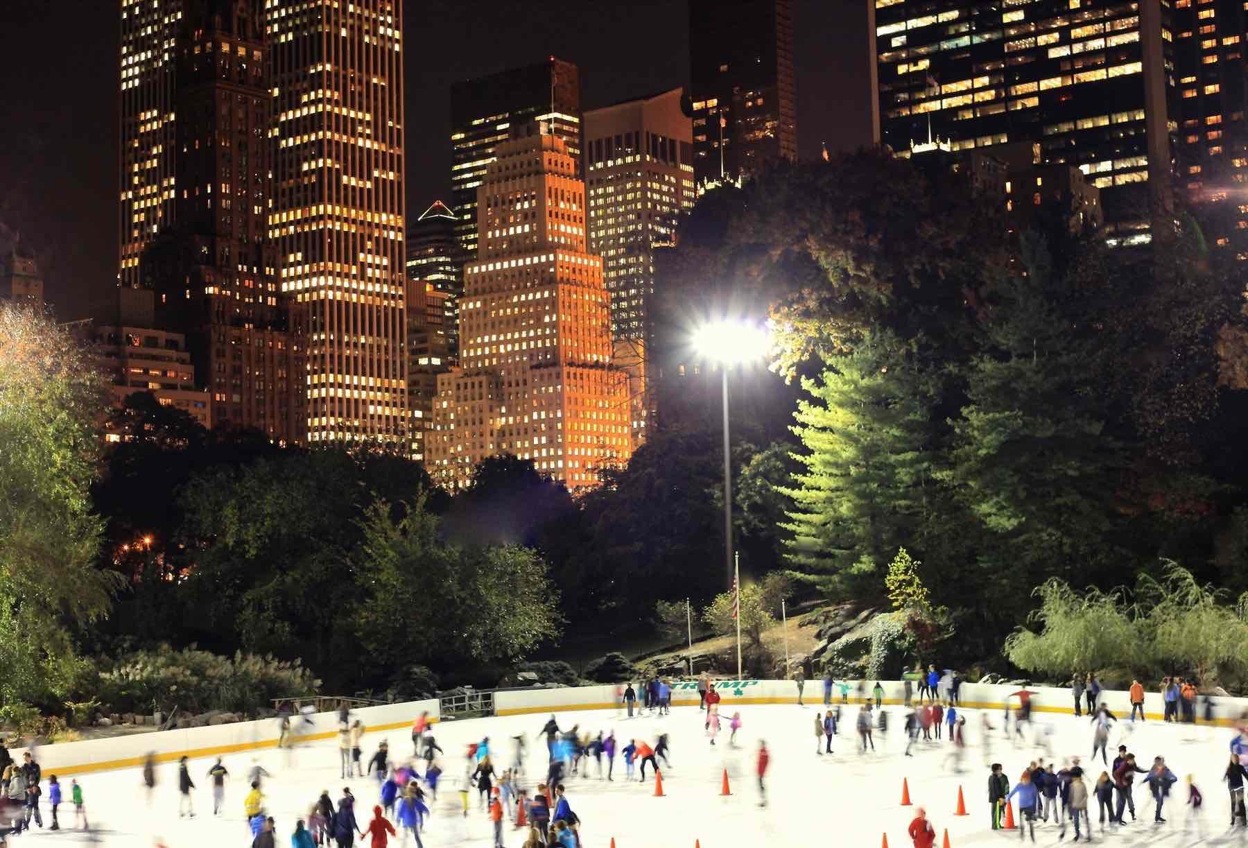 wollman rink at night central park manhattan new york city ny